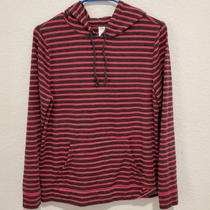 OLD NAVY BLACK AND PINK STRIPED PULL OVER HOODIE
